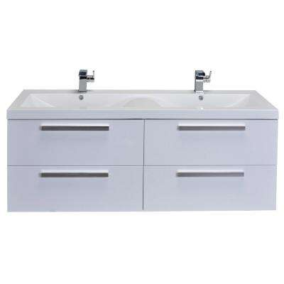 Surf 57 in. W x 19 in. D x 24 in. H Vanity in White with Acrylic Top in White with White Basin