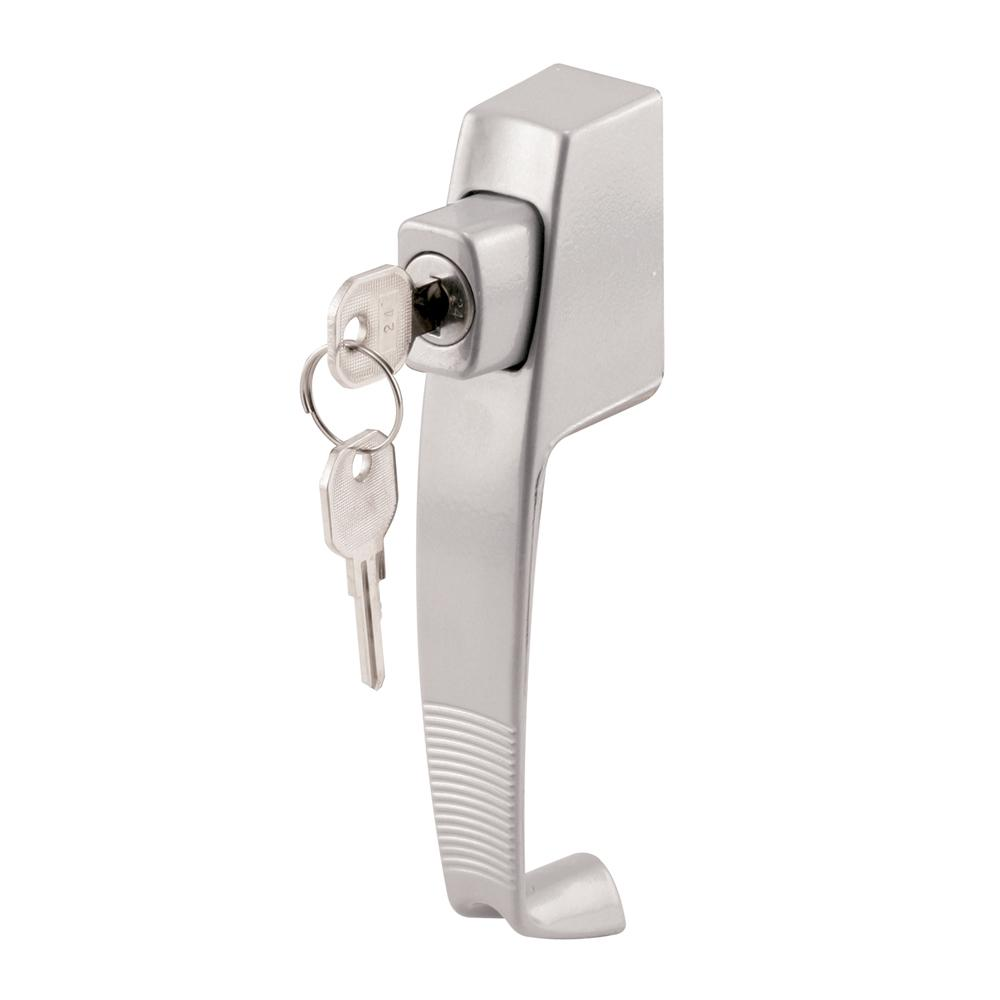 Prime-Line Aluminum, Push Button Screen or Storm Door Latch with Tie Down  and Key Lock
