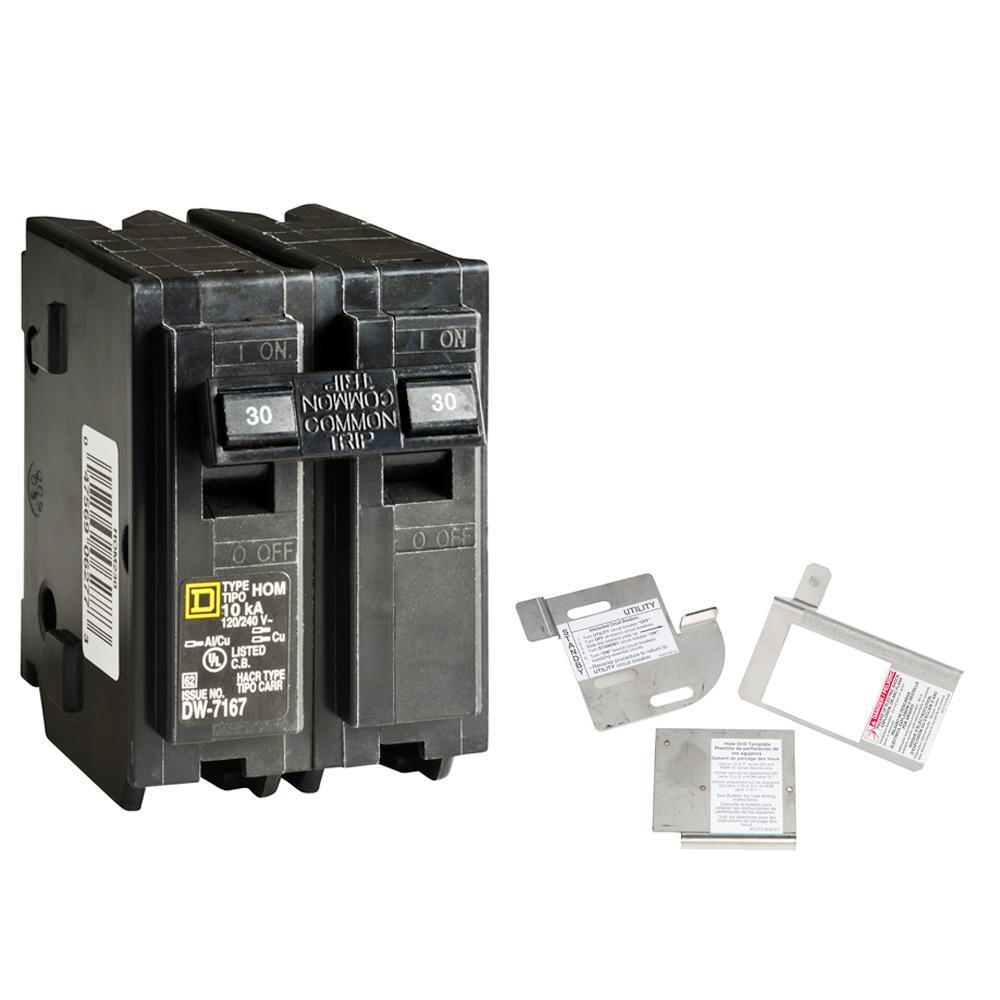 Square D Homeline 30 Amp 2 Pole Circuit Breaker Bundle With 150 225 Amp Load Center Indoor Generator Interlock Kit Hom230cgk2c The Home Depot