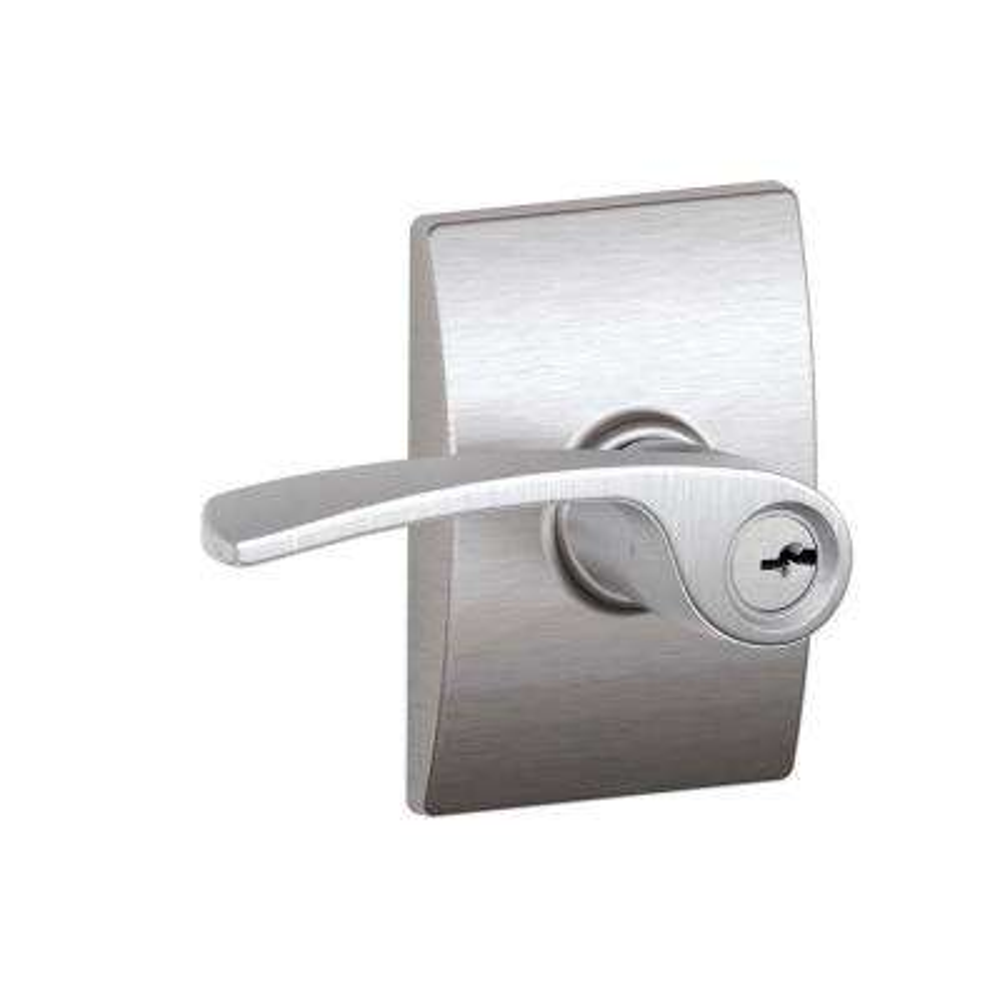 Merano Satin Chrome Keyed Entry Door Lever with Century Trim