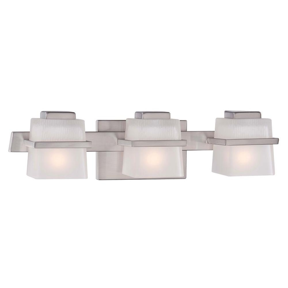 Great Hampton Bay Harlin Hills 3 Light Brushed Nickel Vanity Light With Etched  Glass Shades 15303   The Home Depot