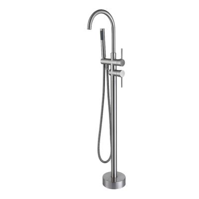 2-Handle Residentail Freestanding Bathtub Faucet with Hand Shower, Brushed Nickel