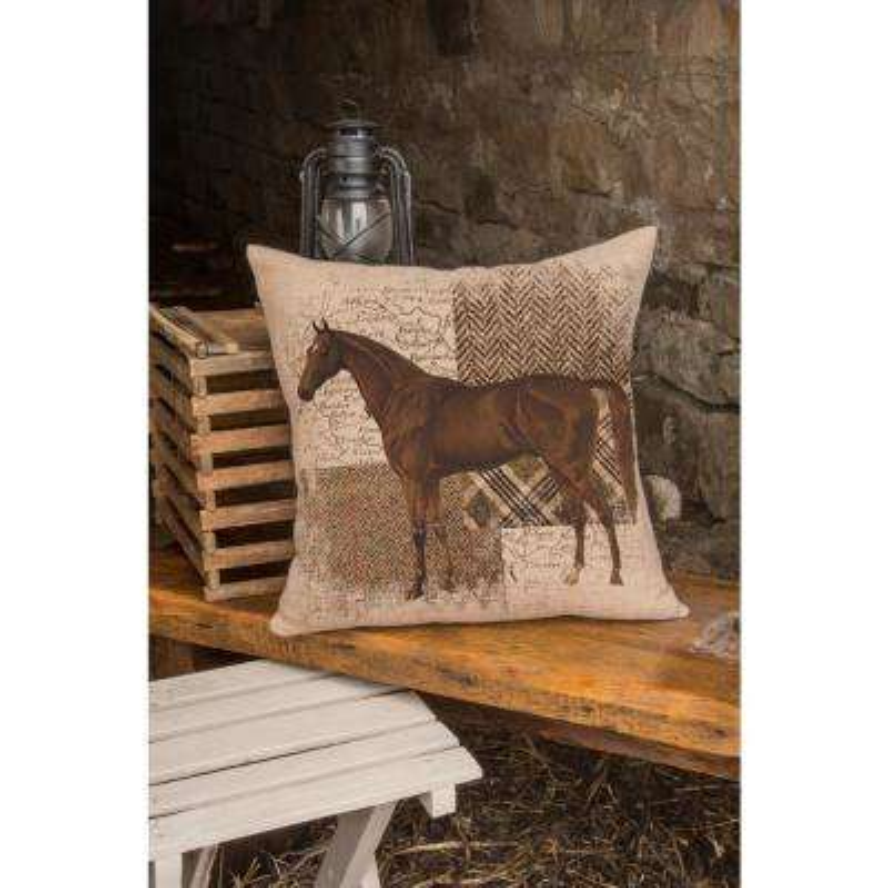 Downton Hunt Club Natural Horse Decorative Pillow