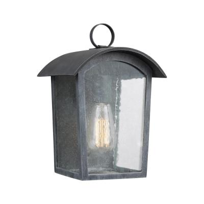 Hodges 1-Light Ash Black Outdoor 11.75 in. Wall Lantern Sconce