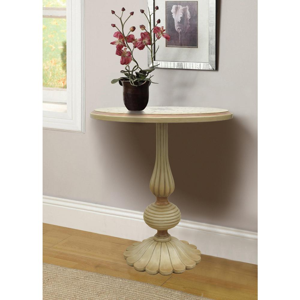 Amazing Null Florentine Distressed Ivory Handpainted End Table
