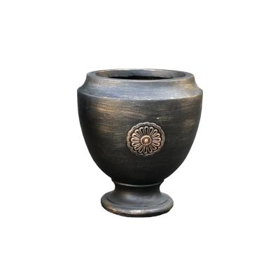 12.99 in. x 12.99 in. x 13.98 in. Bronzewash Color Lightweight Concrete Rosetta Footed Planter