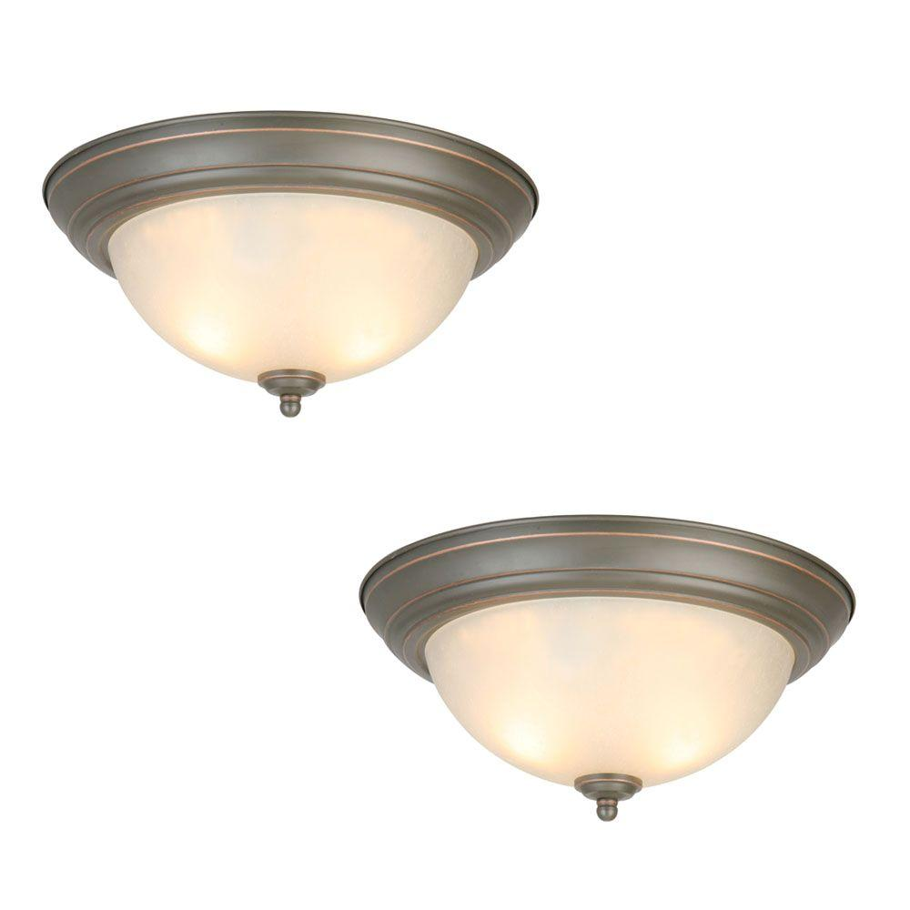 meet d40f8 b66ef Commercial Electric 13 in. 2-Light Oil Rubbed Bronze Flush Mount with  Frosted Glass Shade (2-Pack)