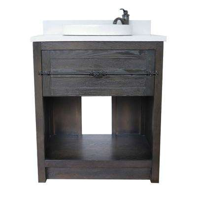 Plantation II 31 in. W x 22 in. D Bath Vanity in Brown with Quartz Vanity Top in White with White Round Basin