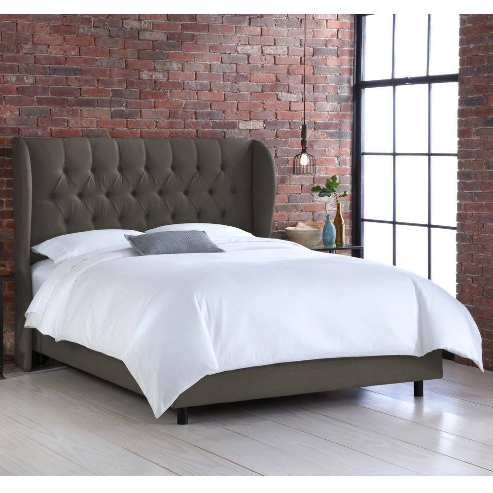 Sofa King To Ol: Linen Charcoal Queen Tufted Wingback Bed-412BEDLNNSLT
