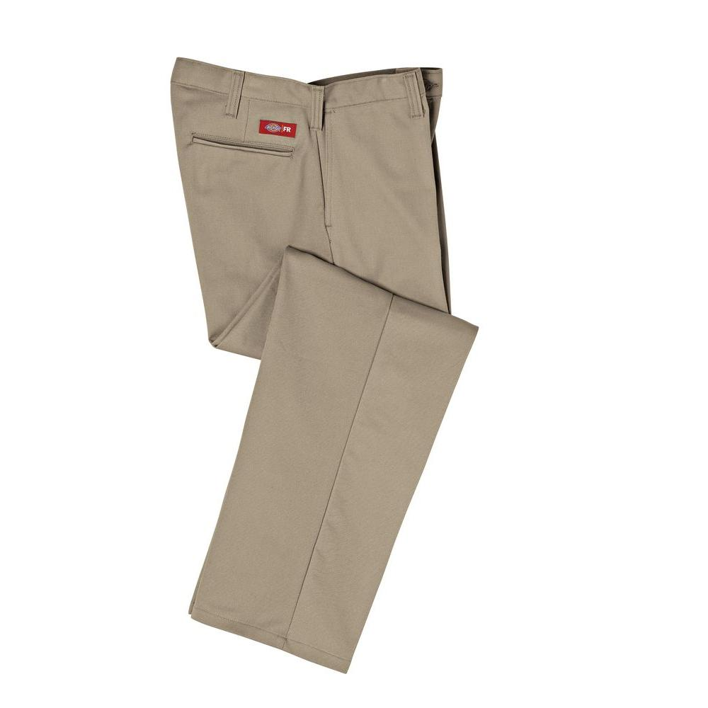 Dickies Men's 38-32 Khaki Flame Resistant Relaxed Fit Twill Pant