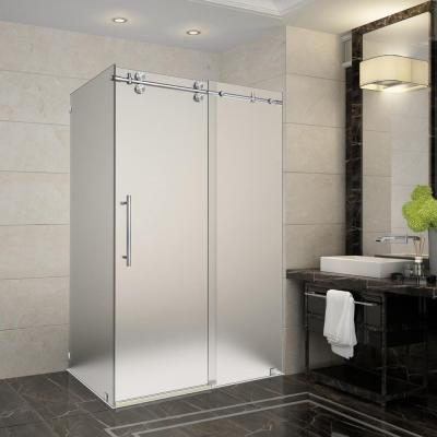 Langham 44 in. - 48 in. x 33.8125 in. x 75 in. Frameless Sliding Shower Enclosure, Frosted Glass in Stainless Steel