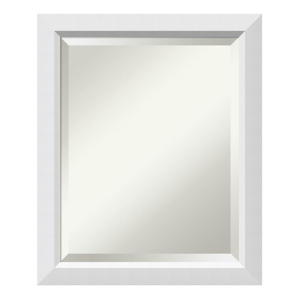Blanco 20 in. W x 24 in. H Framed Rectangular Beveled Edge Bathroom Vanity Mirror in Satin White