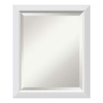 Blanco White Wood 19 in. W x 23 in. H Contemporary Bathroom Vanity Mirror