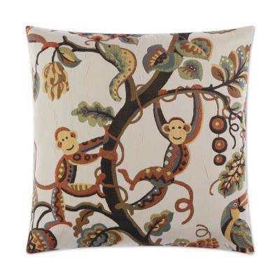Crazy Monkey Feather Down 24 in. x 24 in. Standard Decorative Throw Pillow
