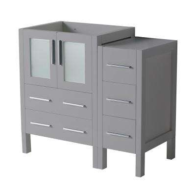 Torino 36 in. W Modern Bath Vanity Cabinet Only in Gray with Side Cabinet