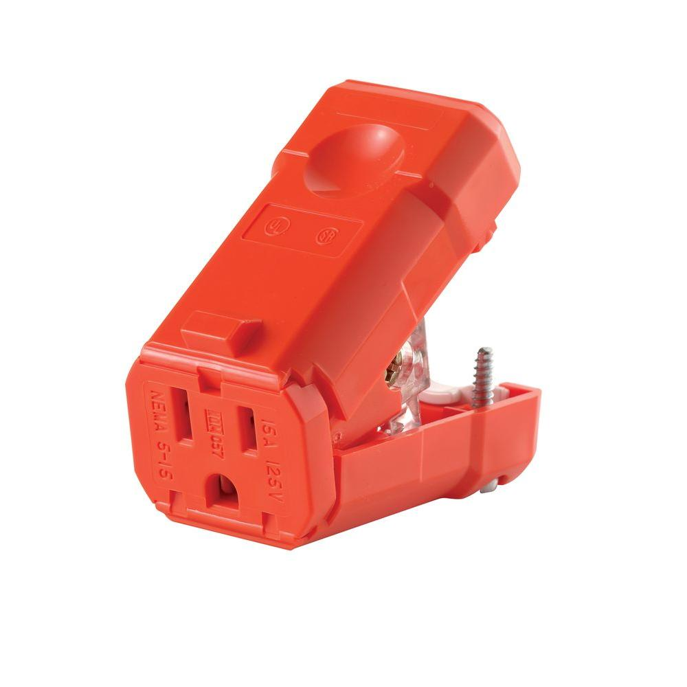 Leviton 15 Amp Python Straight Blade Connector, Orange