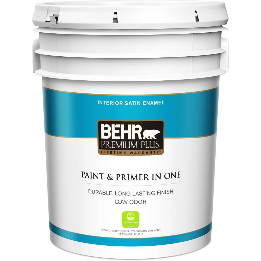 White Paint Interior: BEHR Premium Plus 5 Gal. Ultra Pure White Satin Enamel Low