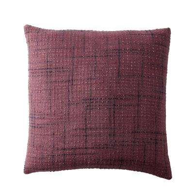 Embroidered Decorative Pillow Cover in Red Embroidered Squares, 20 in. x 20 in.