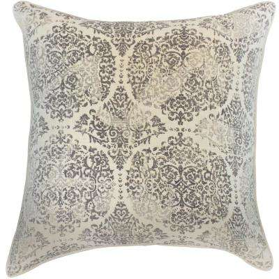 American Colors Distressed lt Grey Damask Pillow