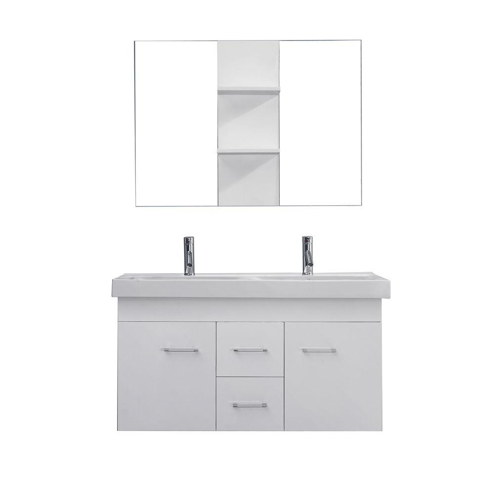 Virtu USA Opal 48 In. Double Vanity In White With Ceramic Vanity Top In  White