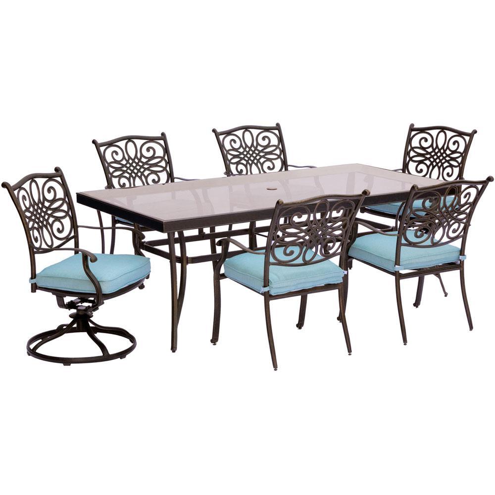 Cambridge Seasons 7-Piece Aluminum Outdoor Dining Set with Blue ...