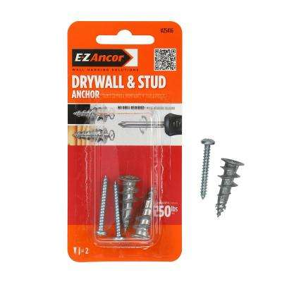 Stud Solver #7 x 1-1/4 in. Alloy Flat-Head Self-Drilling Drywall Anchors with Screws (2-Pack)