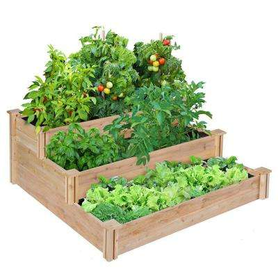 4 ft. x 4 ft. x 21 in. 3-Tiered Cedar Raised Garden Bed