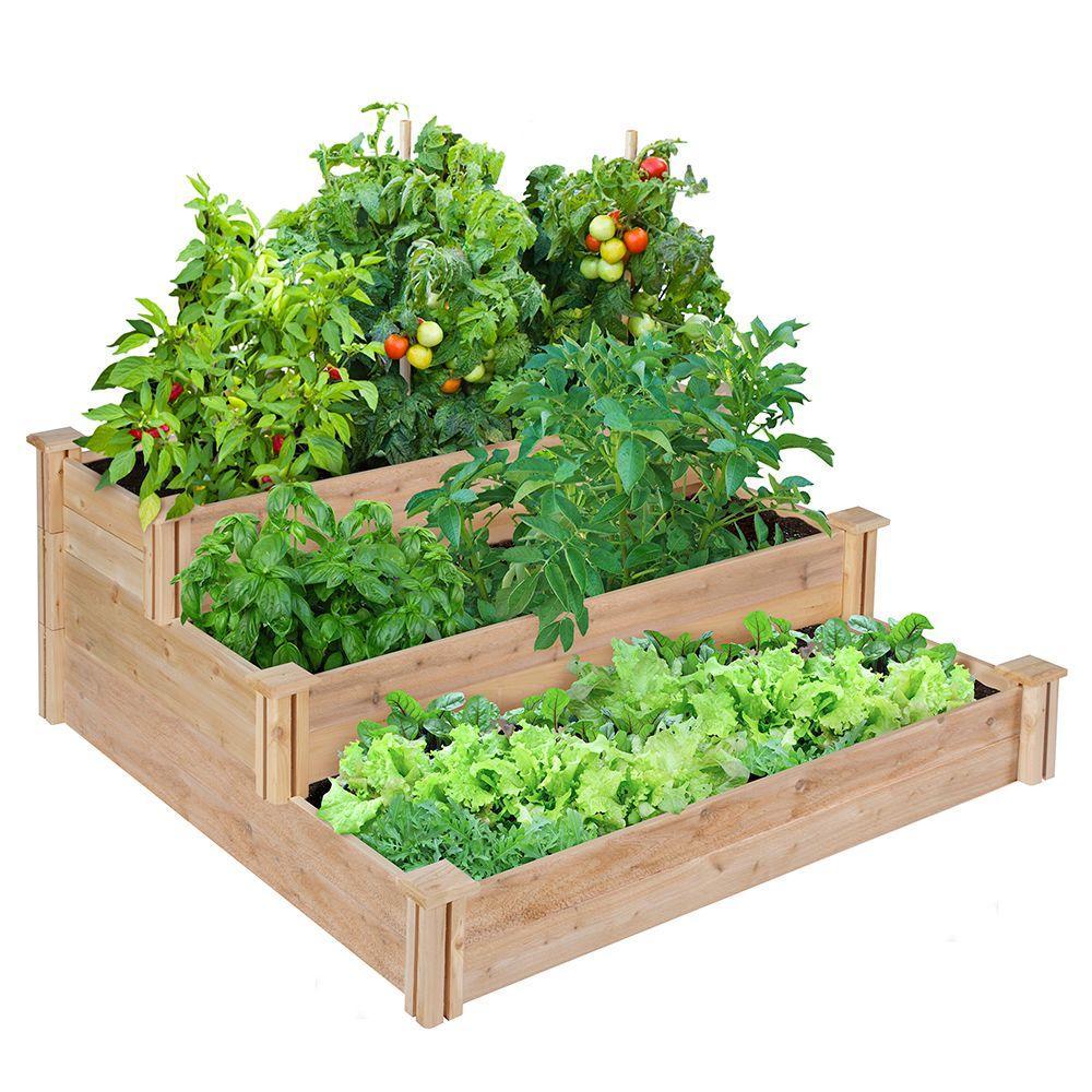 4 ft. x 4 ft. x 21 in. 3-Tiered Cedar Raised Garden Bed