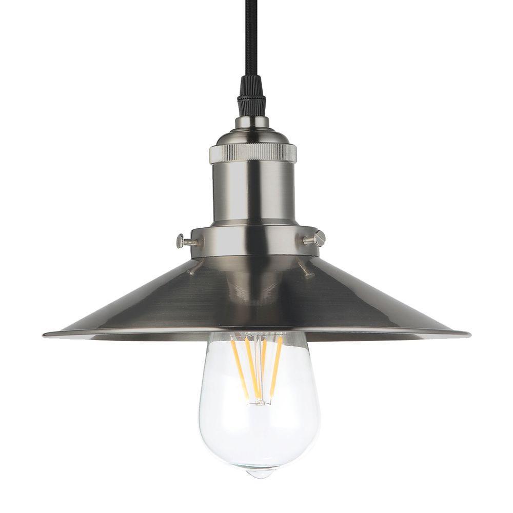 VONN Lighting Delphinus 1-Light 9 in. Satin Nickel LED Adjustable Hanging Industrial Pendant  sc 1 st  The Home Depot & VONN Lighting Delphinus 1-Light 9 in. Satin Nickel LED Adjustable ... azcodes.com