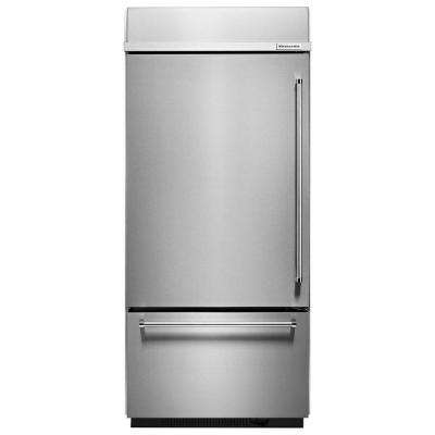 36 in. W 20.9 cu. ft. Built-In Bottom Freezer Refrigerator in Stainless Steel