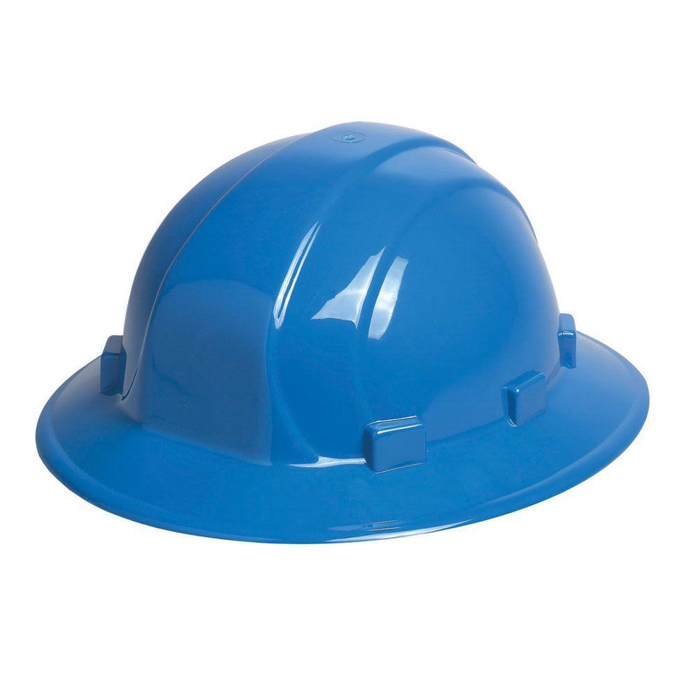79910547c3c ERB Omega II 6 Point Nylon Suspension Slide-Lock Full Brim Hard Hat in Blue