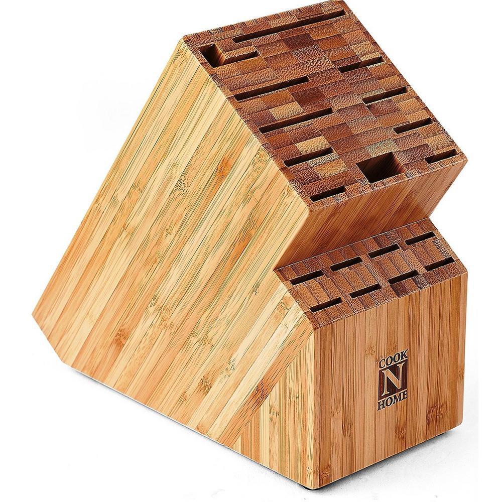 19-Slot Bamboo Universal Knife Storage Block Organizer