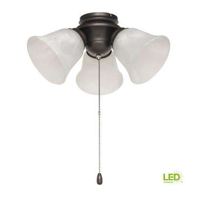 3-Light Satin Bronze Alabaster Glass LED Ceiling Fan Light Kit