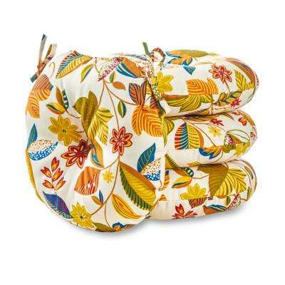Esprit Floral 15 in. Round Outdoor Seat Cushion (4-Pack)