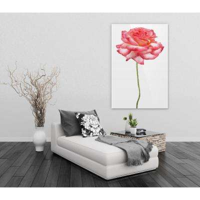 """32 in. x 48 in. """"Pink Rose on White"""" Frameless Free Floating Tempered Glass Panel Graphic Art"""