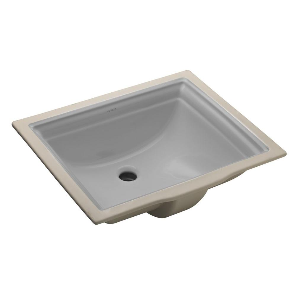 Memoirs Vitreous China Undermount Bathroom Sink in Ice Gray with Overflow