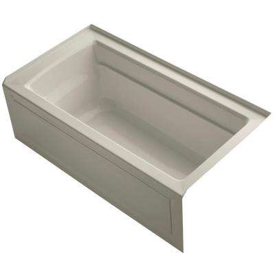 Archer 5 ft. Right Drain Soaking Tub in Sandbar with Bask Heated Surface