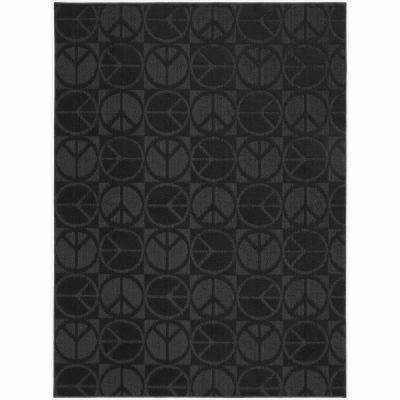 Large Peace Black 5 ft. x 7 ft. Area Rug