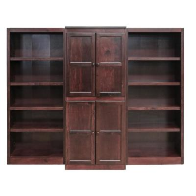 15 Shelf Bookcase Wall with Doors, 72 in. H, Cherry Finish