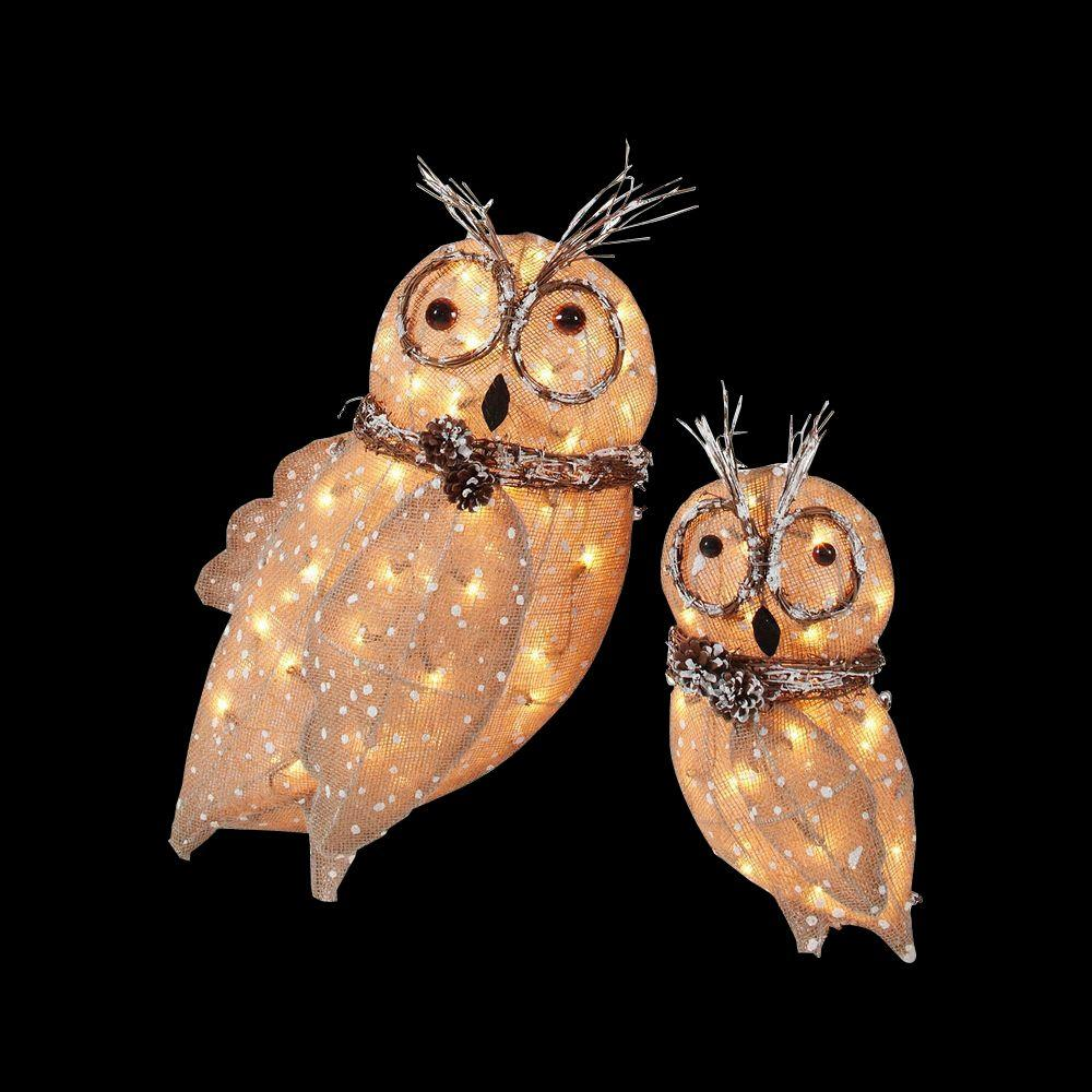 Lighted Burlap Christmas Decorations: Home Accents Holiday Pre-Lit Burlap Owl Family (Set Of 2