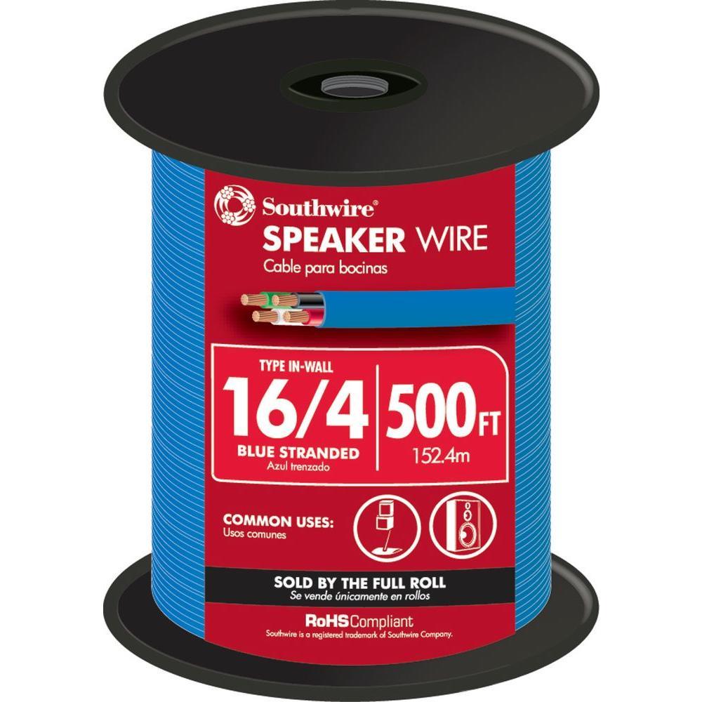 500 ft. 16/4 Blue Stranded CU In-Wall CMR/CL3R Speaker Wire