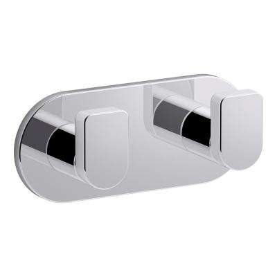 Composed Double Robe Hook in Polished Chrome