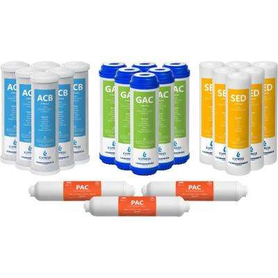 10 in. Reverse Osmosis Replacement Filter Set - 21 Filters with Carbon (GAC, ACB, PAC) Filters, Sediment (SED) Filters