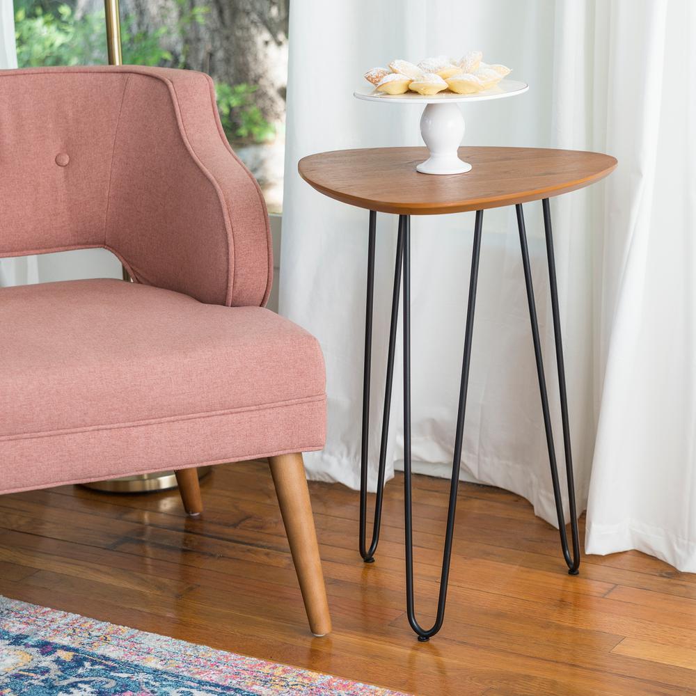 18 in. Walnut Hairpin Leg Wood Side Table