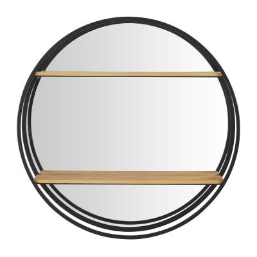 24 in. Diameter x 5 in. D StyleWell Round Wood Black Metal Wall-Mount Bookshelf with Mirror