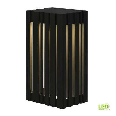Uptown 1-Light Black Outdoor 12.8 in. Small LED Wall Light