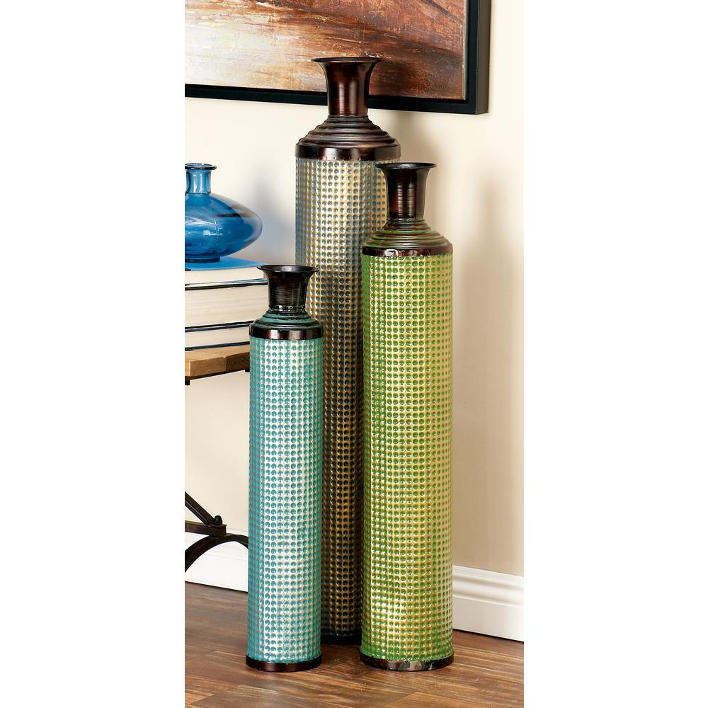 Uniquewise tall bamboo floor vases in orange purple and green glazed black aqua blue forest green and turquoise tall tin decorative reviewsmspy