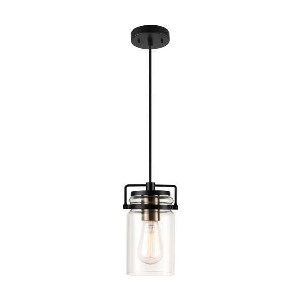 Oliver 1-Light Dark Bronze Plug-In or Hardwire Pendant Lighting with 15 ft. Cord