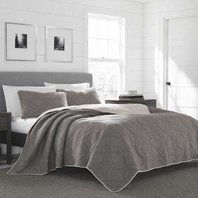 Axis Grey King Quilt Set (3-Piece)