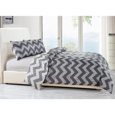 Wyatt 3-Piece Grey Full/Queen Comforter Set